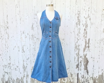 90d83f4f7b 70s Denim Halter Dress XS S