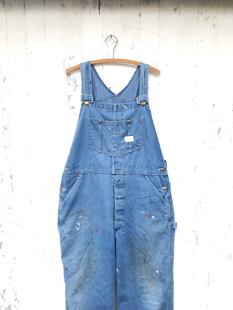 a57c21b8227c3 50s Denim Overalls Distressed Sz M Dungarees Salopette Sears