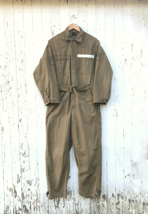 Vtg 40s Coveralls Military Mechanic Jumpsuit Workw