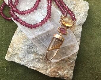 Rhodolite Garnet, Tourmaline and Citrine Gemstone Pendant Necklace