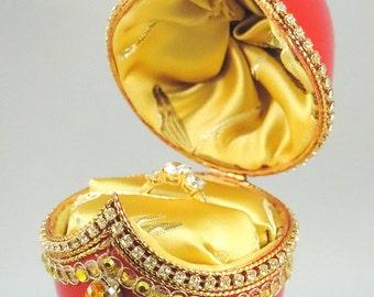 Engagement Ring Box, Red Proposal Box w Re-purposed Jewelry, Red Wedding Ring Box, Presentation Box, Wedding Gift, Ring Bearers Box