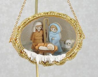 Nativity Christmas Tree Ornament Miniature Creche Christmas Etsy