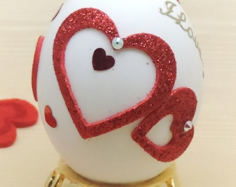 Red Heart Ornament, Valentines Day Ornament, I love you Ornament, Romantic Gift Idea, Faberge Decorated Egg