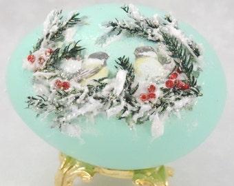 Chickadee Christmas Ornament, Christmas Birds, Bird Ornament, Holiday Decor, Christmas Decor, Christmas Gift Idea, Faberge Decorated Egg