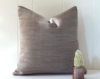 18x18 Brown Tweed Linen Throw Pillow Cover
