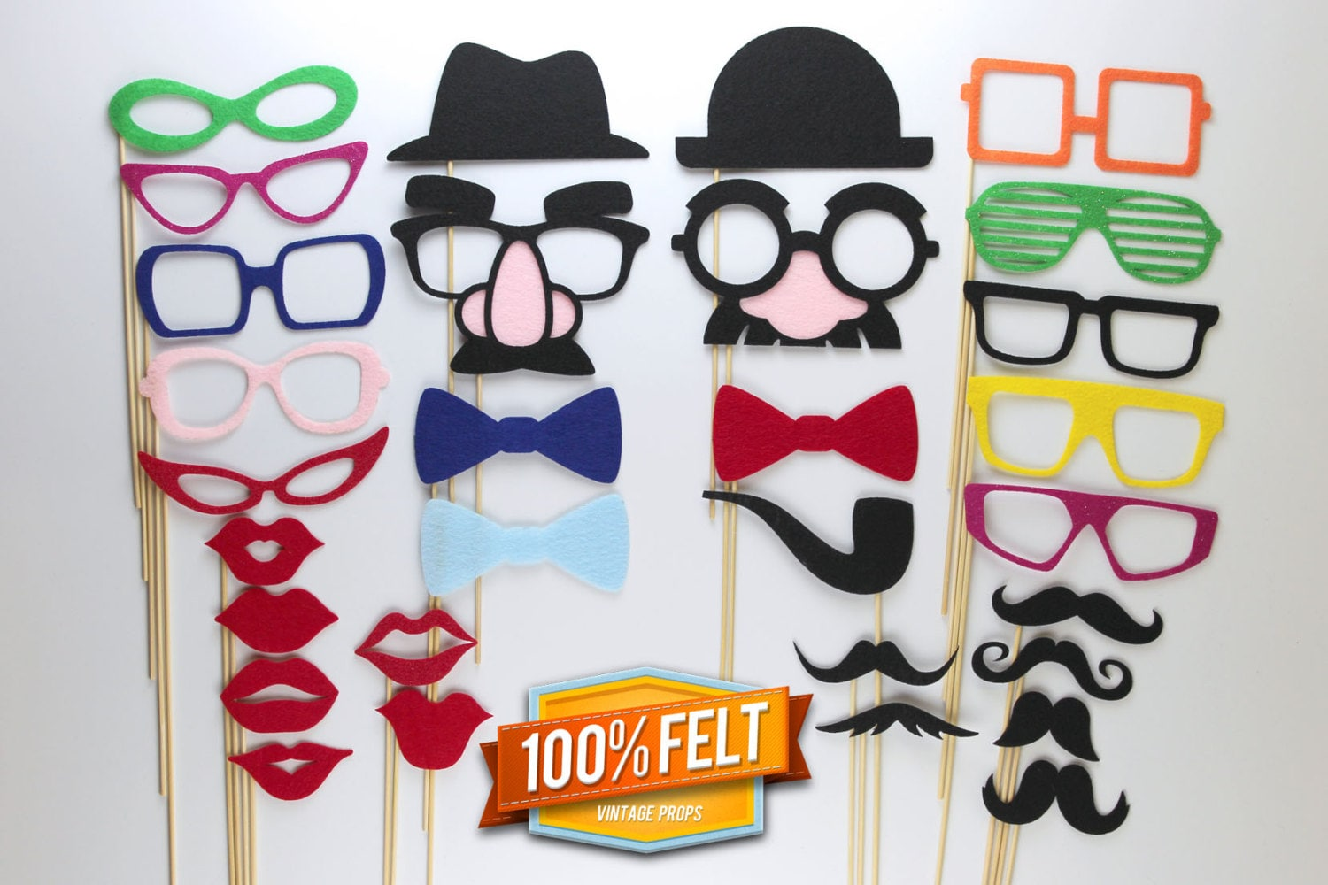 Photo Booth Props - 30 Piece Felt Premium Photo Booth Prop Package