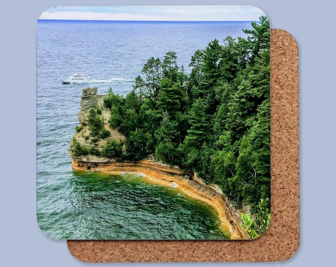 Michigan Coasters - Pictured Rocks - Mackinac Island - Tahquamenon Falls - Grand Marais - Wagner Falls -   Individual or Set of 4