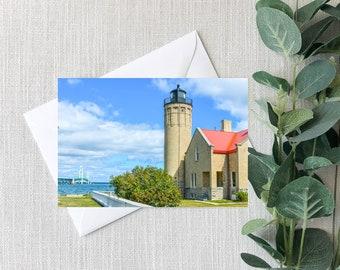 Mackinac Bridge Old Mackinac Point Lighthouse Michigan Notecard, Great Lakes Scenic Greeting Card - Set of 5