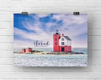 Round Island Lighthouse Michigan Print Wall Art