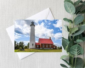 Tawas Point Lighthouse Lake Huron Michigan Notecard, Great Lakes Scenic Greeting Card