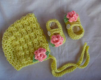 Baby Bonnet and MaryJane Set ( MADE TO ORDER) Infant Baby Hat Set b3ced1b75fd