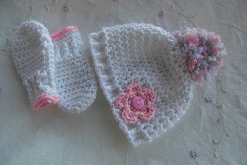 Infant Hat and Mitten Set Baby Girl Hat and Mitten Set  fda067e0467