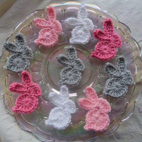 Embellishment Handmade Crochet Easter Bunny//Rabbit Applique Pack of 4 Pink
