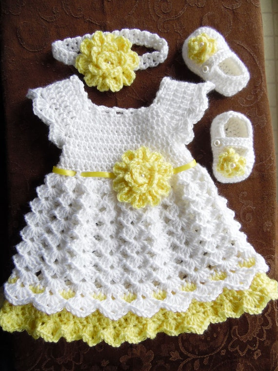 Häkeln Sie Baby Kleid Set weißen und gelben Baby Kleid   Etsy