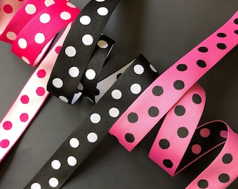 Polka dots woven jacquard embroidered ribbon trim 3 yards 25mm 1 inch wide free domestic shipping