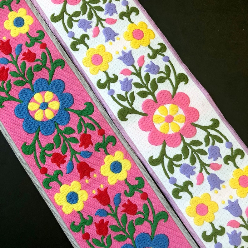 Flower Ribbon Woven Jacquard trim 50mm 2 inches wide free image 0