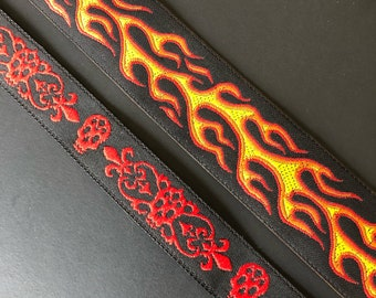 Flames and Skulls woven jacquard embroidered ribbon trim 1/2  and 7/8inch wide. Free domestic shipping