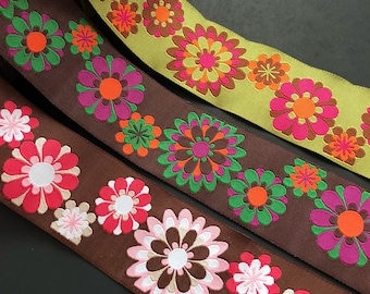 Renaissance Ribbons HD Blooms woven jacquard embroidered ribbon trim 38mm 1.5 inches wide free domestic shipping