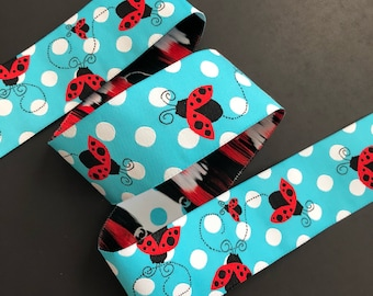 Ladybugs woven jacquard embroidered ribbon trim 38mm 1.5 inches wide free domestic shipping
