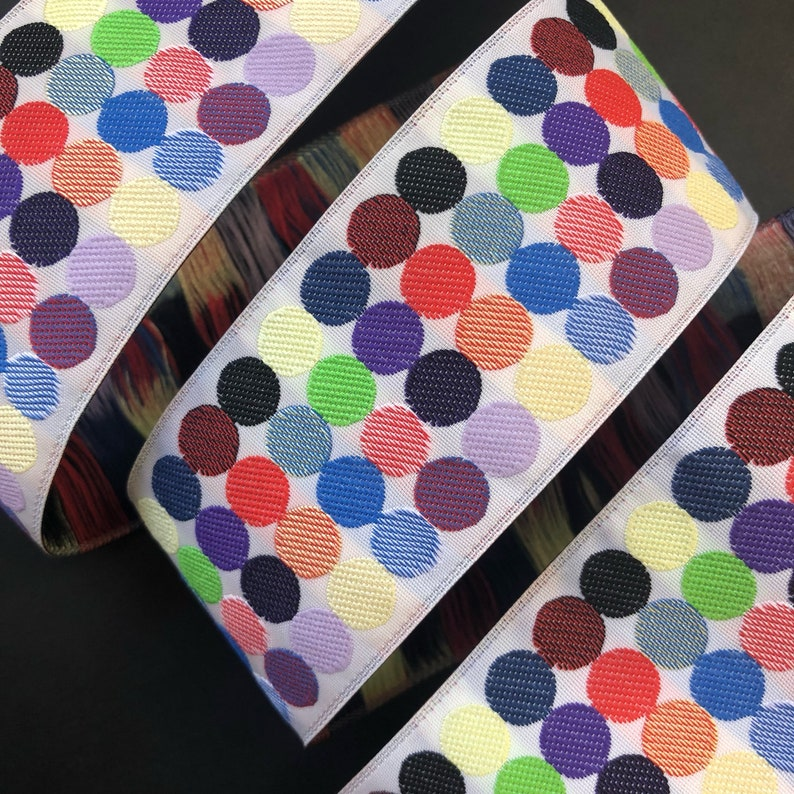 7 yard roll  Multicolor Dots woven jacquard embroidered ribbon image 0