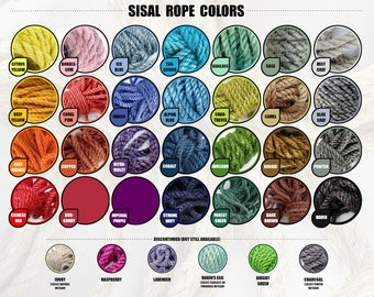 """5 x 5' Assorted Color Sisal Rope, Choose 5 Colors, 5' Each: 1/4"""", 5/16"""", 3/8"""" or 1/2"""""""