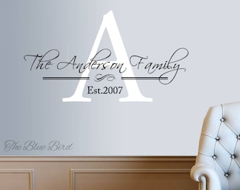 Personalized Family Name Decal Family Monogram Family Established Date Vinyl Wall Decal - Family Decor Custom Family Wall Decal