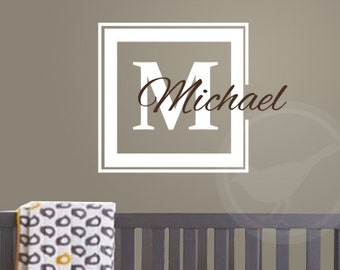 Personalized name decal - Nursery Wall Decal. Frame and name decal. Custom made wall decals. Nursery decal