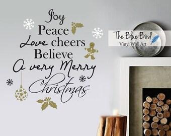Merry Christmas Decal Christmas Decor, Christmas Wall Decal, Wall Art Holiday Decal Christmas Decoration, Santa Wall Decal