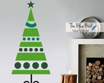 Christmas Decor, Christmas Wall Decal, Christmas Tree Wall Decal, Christmas tree Vinyl Decal Wall Art Holiday Decal