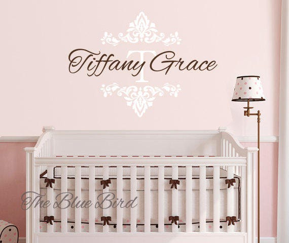 Name and Initial Name wall decal damask Baby Girl Decal Girl Name Decal Damask Decal Baby Girl Nursery Name Wall Decals Nursery