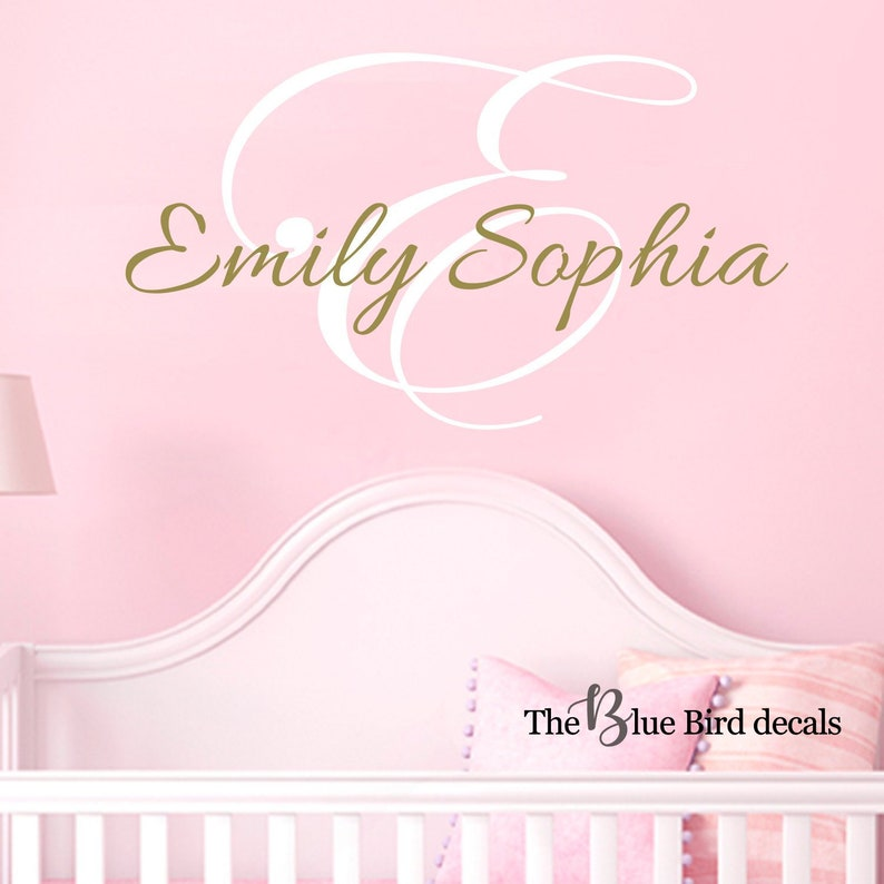 Personalized Name and Initial Wall Decal Girl name wall decal Name Wall Decal Damask Wall Decal Shabby Chic gold decal Name Decal