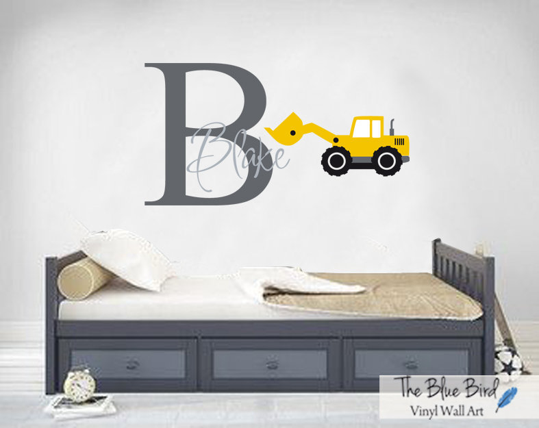 Construction Truck Wall Decal Name Wall Decal Boys Room | Etsy