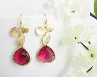 Ruby Earrings, July Birthstone Earrings, Floral Earrings, Valentines Gift, Bridesmaid Earrings, Wedding Jewelry, Bridesmaid Gift