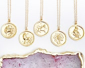 Zodiac Necklace, Zodiac Coin Necklace, Virgo Necklace, Libra Necklace, Pisces Zodiac Gift, Friend Necklace, Birthday Gift, Valentines Gift