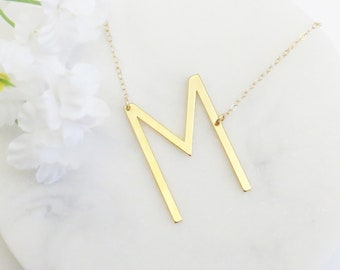 m initial necklace sideways initial necklace m letter necklace oversized initial necklace letter necklace graduation gift wife gift