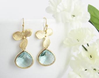Aquamarine Earrings Gemstone Earrings Dangle Earrings Charm Earrings Aquamarine Charm Healing Jewelry 10mm Aquamarine Stainless Steel