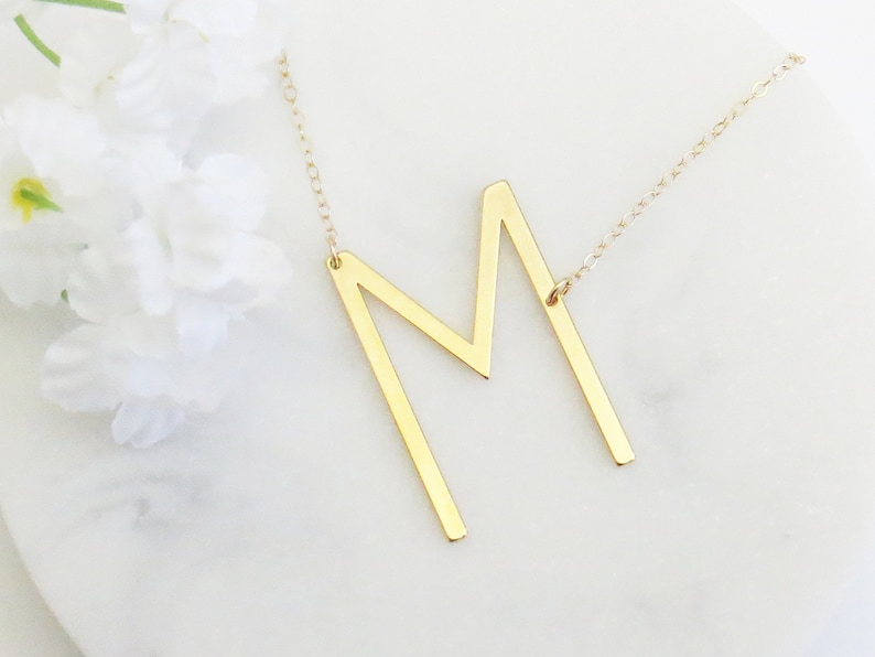 M Letter Necklace Letter Necklace Oversized Initial Necklace Wife Gift Mothers Day Gift Sideways Initial Necklace M Initial Necklace