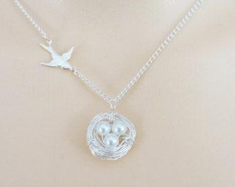 Nest Necklace, Bird Nest Necklace, Bird Necklace, Mothers Day Gift, Mothers Necklace, Necklace for Mom, Gift for Mom, Gift for Grandmother