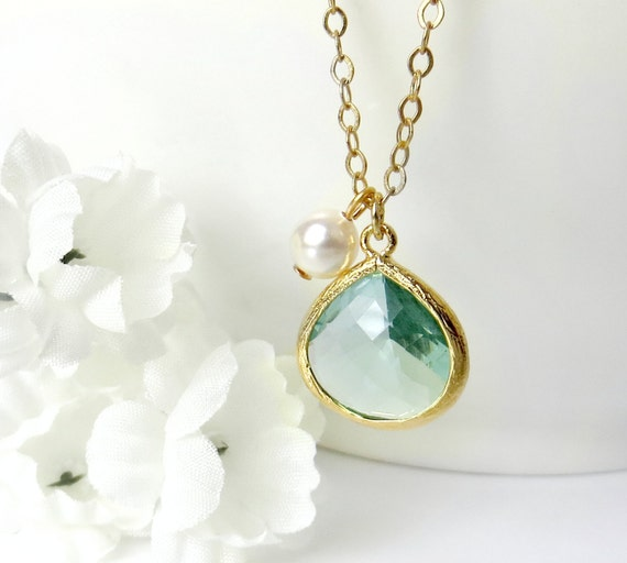 Gold Aquamarine Necklace Christmas Gift For Mom Jewelry For