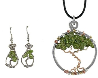 Green Peridot Tree of Life Wire Wrapped Hammered Silver Necklace on Adjustable Black Cotton Cord and Matching Earrings