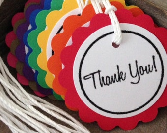 Scallop Circle Thank You Tags in the (Color of Your Choice) ~ Birthday, Favor Tags, Gift Tags