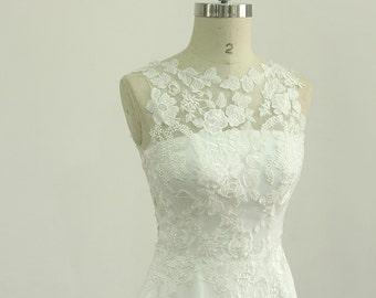 Romantic Ivory chiffon lace casual wedding dress with illusion neckline