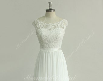 Stunning open back A line chiffon lace  beach wedding dress with sweetheart neckline