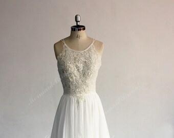 eeaf1ca80b91 Flowy Aline Boho Lace Wedding Dress, Chiffon Lace Wedding Dress, Halter Wedding  Dress,Beach Wedding Dress with Elegant champagne 3D Lace