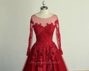 Red Open Back Wedding Dresses