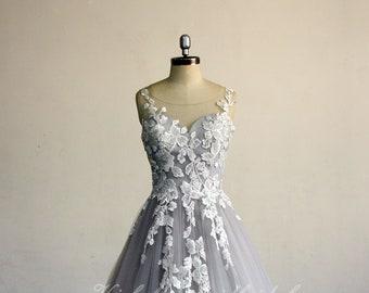 Grey wedding dress | Etsy