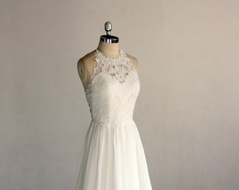 e9832a44f0c4 Flowy ivory vintage chiffon lace wedding dress, halter wedding dress,open  back a-line bohomian wedding dress with chapel train