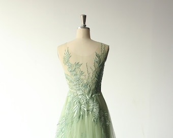 98ded78cbd57 Unique romantic sage aline tulle lace wedding dress, elegant boho wedding  dress, sage prom dress with deep v neckline