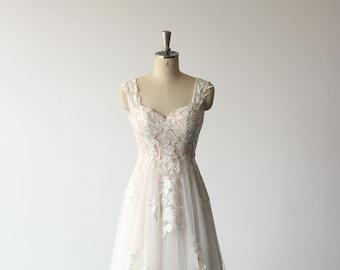 Romantic A-line 3D lace wedding dress, pale blush wedding gown, casual wedding dress with dual lace straps and chapel train