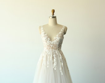 Elegant flowy A-line deep V neckline tulle lace wedding dress, boho wedding dress with dark champagne lining and chapel train